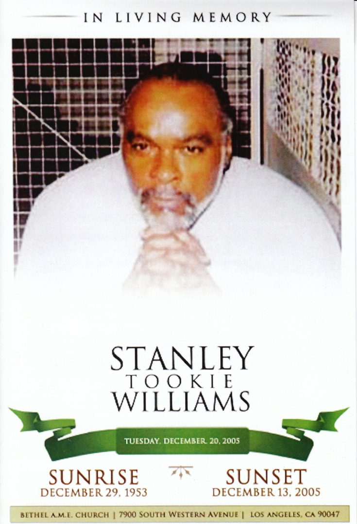a perspective on the biography of stanley tookie williams Stanley 'tookie' williams is not typical of the 629 death row inmates at san quentin prison in san francisco convicted of four murders and the self-confessed co-founder of the crips, the world's.